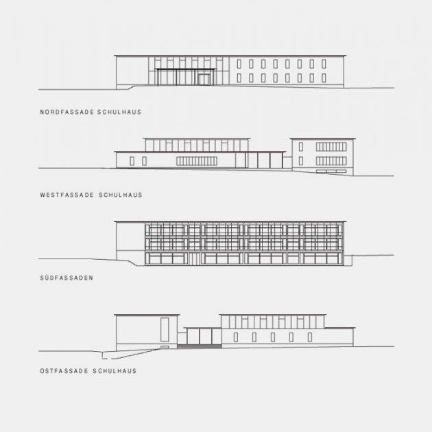 Fassaden Schulhause - Schnitte